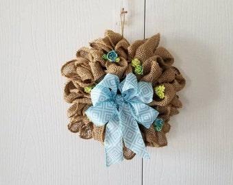 Spring Summer Wreath, Spring Burlap Wreath, Summer Burlap Wreath, Spring Wall Decor, Summer Wreath, Burlap Wreath with Bow, Small Wreath