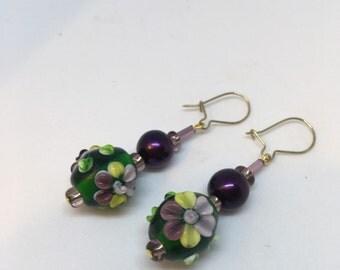 Handmade Green & Purple and Lemon Lampwork Bead Flower Earrings by JulieDeeleyJewellery  Handmade Earrings Gifts For Her Flower Earrings