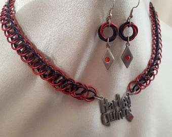 Harley Quinn Chainmaille Necklace and Earring Set