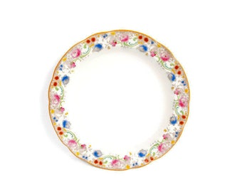 Antique Doulton Burslem Melrose Pattern Large Round Platter Made in England Pink and Blue Round Serving Dish Royal Doulton