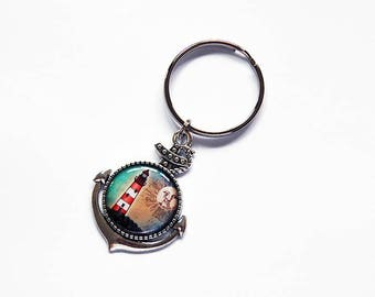 Lighthouse Keychain, keyring, Anchor keychain, stocking stuffer, keychain, Lighthouse key ring, nautical, gift under 10, anchor (7837)