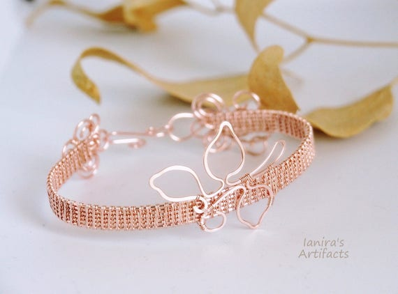 Rose gold Wire wrapped bangle bracelet cuff gift for women woven jewelry modern stackable stacking bracelets leafy nature lovers ooak
