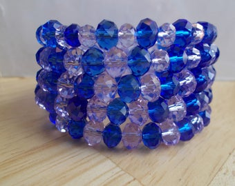 5 Row Memory Wire Cuff Bracelet with Purple and Blue Crystal Beads