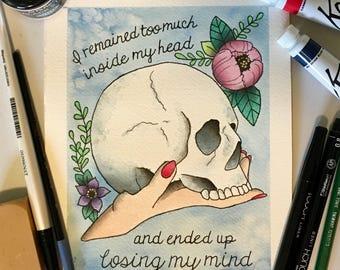 Edgar Allan Poe Skull 'Losing My Mind' Tattoo Flash PRINT by Nicole Quinn