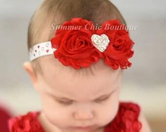 Valentine Headband, Red  Hearts Baby Headband, Infant Headband, Newborn Headband, Red Headband, Red Baby Headband