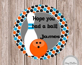 PRINTED Boys Bowling Birthday Favor Tags Stickers Printed Birthday Party Boys Party Favor Tag  Gift Tag Personalized Favor Tag