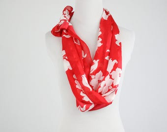 Vintage Ellen Tracy Silk Oblong Scarf Red with White Flowers