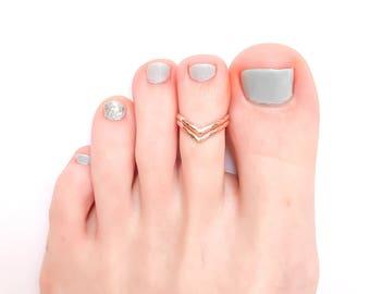 Gold Toe Ring, Double Chevron 14K Rose Gold Filled Toe Ring, Adjustable Toe Ring, Chevron Toe Ring