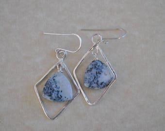 Ice agate and Sterling silver dangling earrings, artisan earrings, gemstone earrings