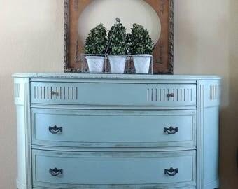 RARE - Demilune/Bow Front Dresser - Antique Hand-Painted Dresser
