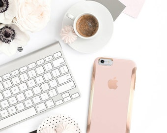 Rose Gold Ombre and Rose Gold Hard Case Otterbox Symmetry iPhone 6 / iPhone 7 / Galaxy S7 , Galaxy S8 , Galaxy S8 Plus - Platinum Edition