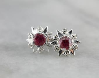 Vintage Ruby White Gold Star Earrings, Ruby Stud Earrings HDJX59-N