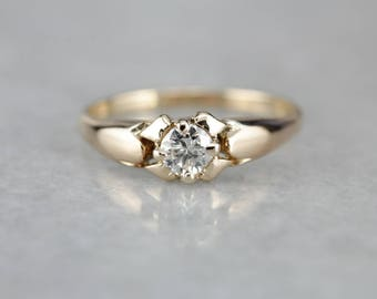 Vintage Diamond Solitaire, Traditional Diamond Ring, Engagement Ring, Estate Jewelry F09W5V-R