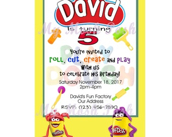 Play Doh Birthday Party Invitation Digital File