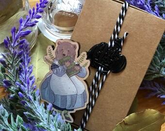 Magical Librarian Bear Lady Aurora Wooden Brooch