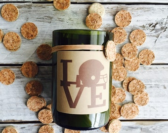 Love football...Candles made out of recycled wine bottles