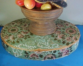 Antique Hannah Davis Wallpaper Box LID, Great Table Riser, Centerpiece, Wood Bandbox Lid, c 1826