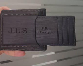 men's wallet, personalized mens wallet, custom engraved leather wallet, men wallets, fathers day, christmas, valentines day, gift for men