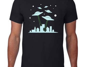 CLEARANCE FINAL SALE, Ufo Attack, Funny TShirt, Alien T Shirt, Ufo T Shirt, Funny T Shirt, Alien TShirt, Spaceship Tee