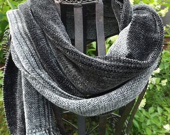 Shades of Gray Handwoven Rayon Chenille Scarf for Men or Women