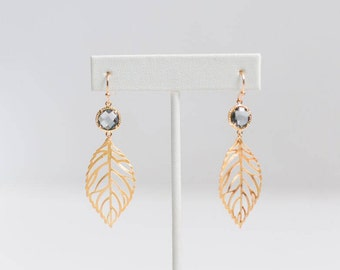 Leaf Earrings, Leaf Earrings Gold, Dangle Earrings, Gold Leaf Earrings, Gold Dainty Earrings, Statement Earrings, Gold Leaf Dangle Earrings