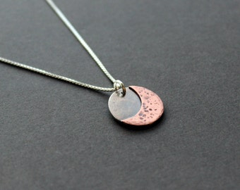 Mixed Metal Moon Necklace - Sterling Silver/Cooper - Handmade Moon Necklace - Moon Jewelry - Moon in Silver - Everyday