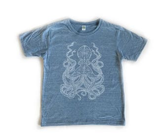 Octopus Kids T Shirt, Youth Crew neck, Royal Apparel Eco Tri Blend Tee, Organic cotton triblend T-shirt, octopi, squid, sea creature, ocean