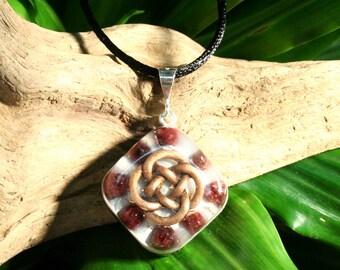 Garnet Orgone Pendant - Celtic Knot - Root Chakra Balancing Spiritual Gift Necklace - Small