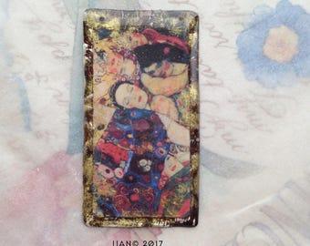 Colorful Women-Klimt pendant- Resin pendant, Vintage image, Boho pendant, colorful women , jewelry components, resin pendant