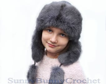 EAR FLAP HAT, Rabbit Fur Kids Hat, Ushanka Hat, Child Hat, Fur Hat with Ear Flaps, Warm Hat, Childs Fur Hat, Trapper Hat, Girl Hat, Fur