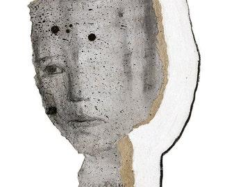 Female Black White Pencil Drawing Print, Modern Classic Art, Woman Portrait, Chic Fine Art Work