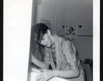 Vintage Snapshot Photo Woman Washing Hair Over Kitchen Sink 1960's, Original Found Photo, Vernacular Photography