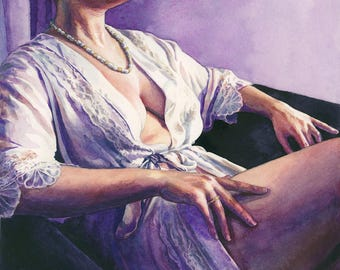 """Signed Giclée Art Print by Vanessa Walsh, """"Mistress"""", Erotic Nudity, Female Form, strong woman, domme"""