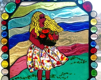 Fused Glass Window Panel - Girl With Poppies