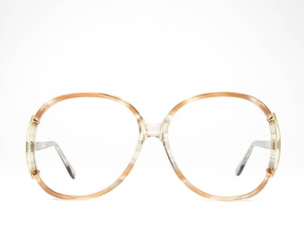 Vintage 80s Glasses | Oversized Eyeglasses | 1980s Glasses Frames | Beige Clear Eyeglass Frame - Regal 2