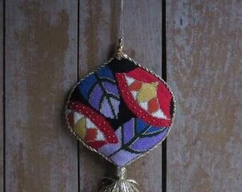 Handmade Vintage Needlepoint Wall Hanging, Gift,Red,Purple,Door Ornament,Handmade,Art Deco Design,Needlepoint Decor,Christmas Tree Ornament