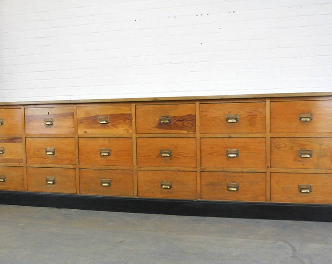Large Bank Of Pine Factory Drawers Circa 1940s