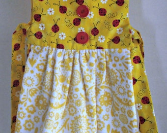 Hanging Kitchen Towel Dress, Hanging Dishtowel, Red Ladybugs, Red Buttons White and Yellow Towel, Housewarming