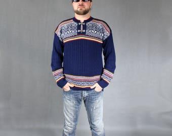 UNISEX Vintage Icelandic Norwegian Wool Sweater, Retro 80s Blue Alaska Warm Pullover, Workout Oversized Holiday Jumper, Boyfriend gift SZ L