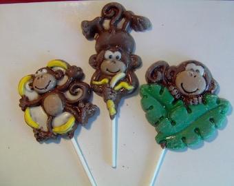 Monkey Lollipops (12) Curious George Theme/Go Bananas/1st Birthday/Baby Shower/First Birthday/Jungle Theme