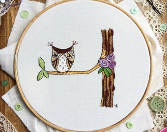 Embroidery pattern, pdf, Ollie, embroidery designs, hand embroidery, sewing, owl, owl lover gift, hoop art, stitch, embroidery, cute