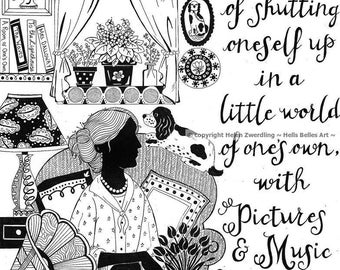 Virginia Woolf illustrated literary / introvert quote ~ a high quality framed A4 print of an original artwork by ©Helen Zwerdling
