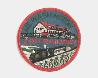 Vintage 1970s Mount Washington Cog Railway Fabric Patch - New Hampshire embroidered badge United States travel souvenir red America American