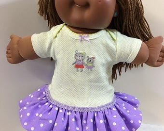 """Cabbage Patch KIDS 16 inch Doll Clothes, """"Mommy and Baby Teddy BEAR"""" Ruffle & Trim Dress, 16 inch CPK Kids Doll, 15 inch Bitty Fits Baby"""