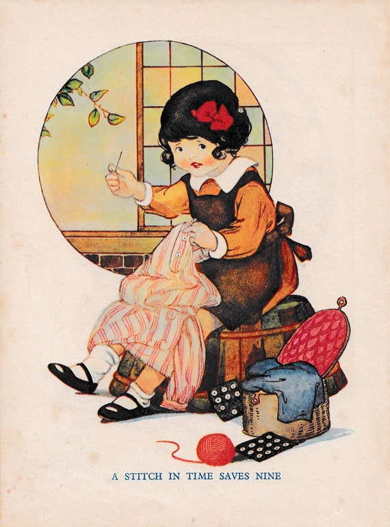 """Children's book illustration by H.G.C. Marsh Lambert, """"A Stitch in Time Saves Nine"""", published 1950s, book print"""