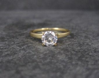 Vintage Vermeil Cubic Zirconia Engagement Ring Size 9