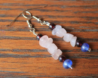 Rose Quartz, Garnet Gemstone, and Glass Beaded Drop Earrings