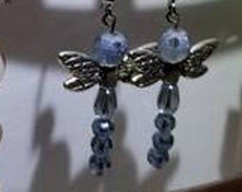 Blue and Silver Dragonfly Dangle Earrings