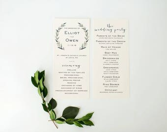 elliot greenery wedding programs  // winery olive branch watercolor rustic eucalyptus greenery modern simple calligraphy wedding program