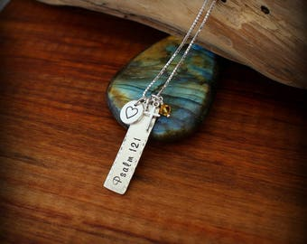 Proverb necklace, Psalm necklace, Religious necklace, Cross necklace